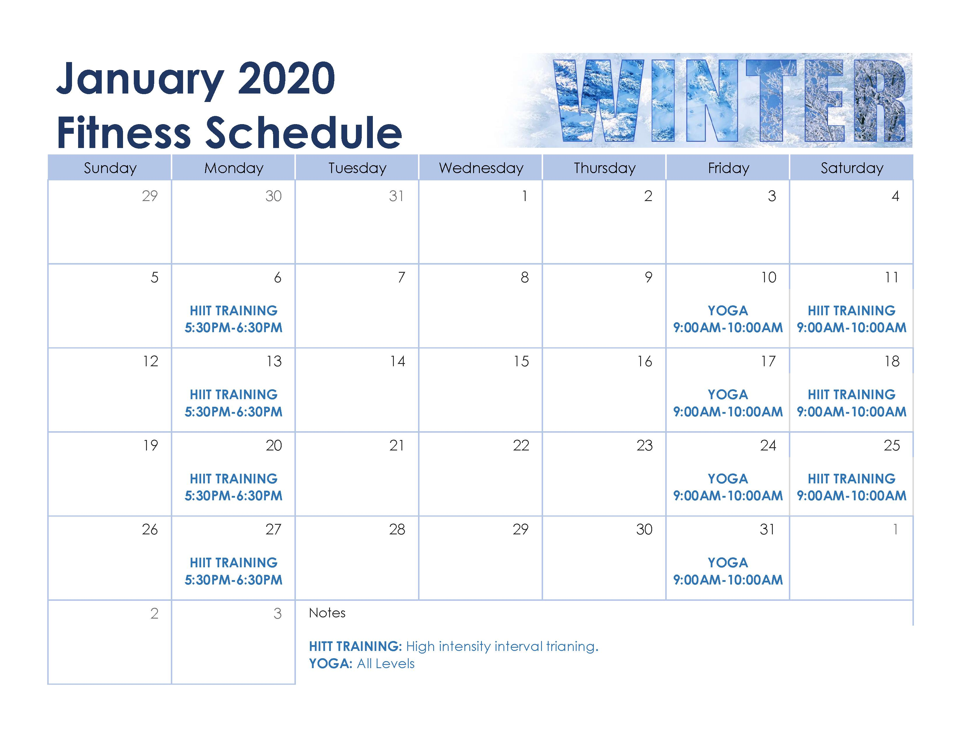 January Fitness Schedule