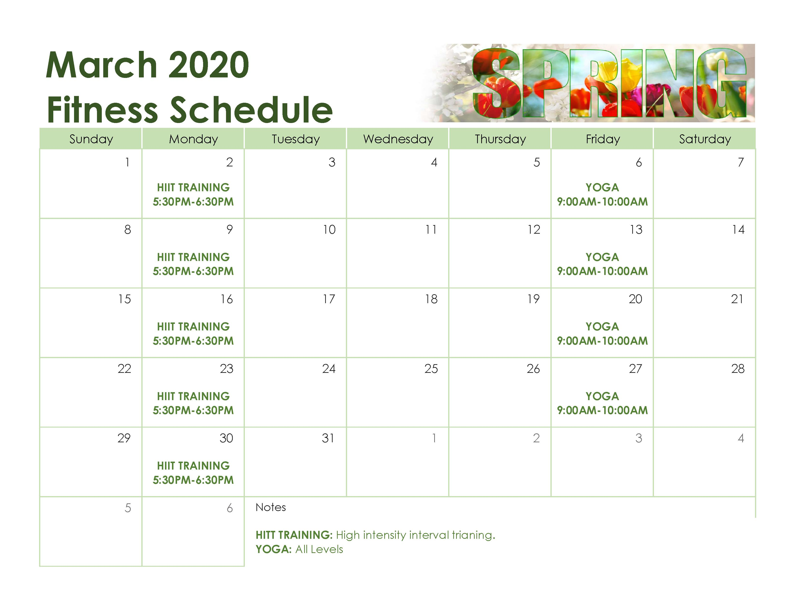 MARCH FITNESS SCHEDULE